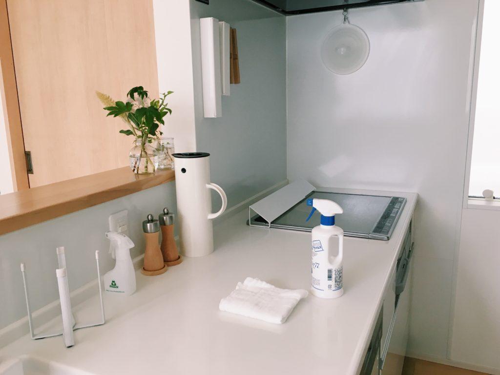 キッチンにパストリーゼとふきんが置かれています。