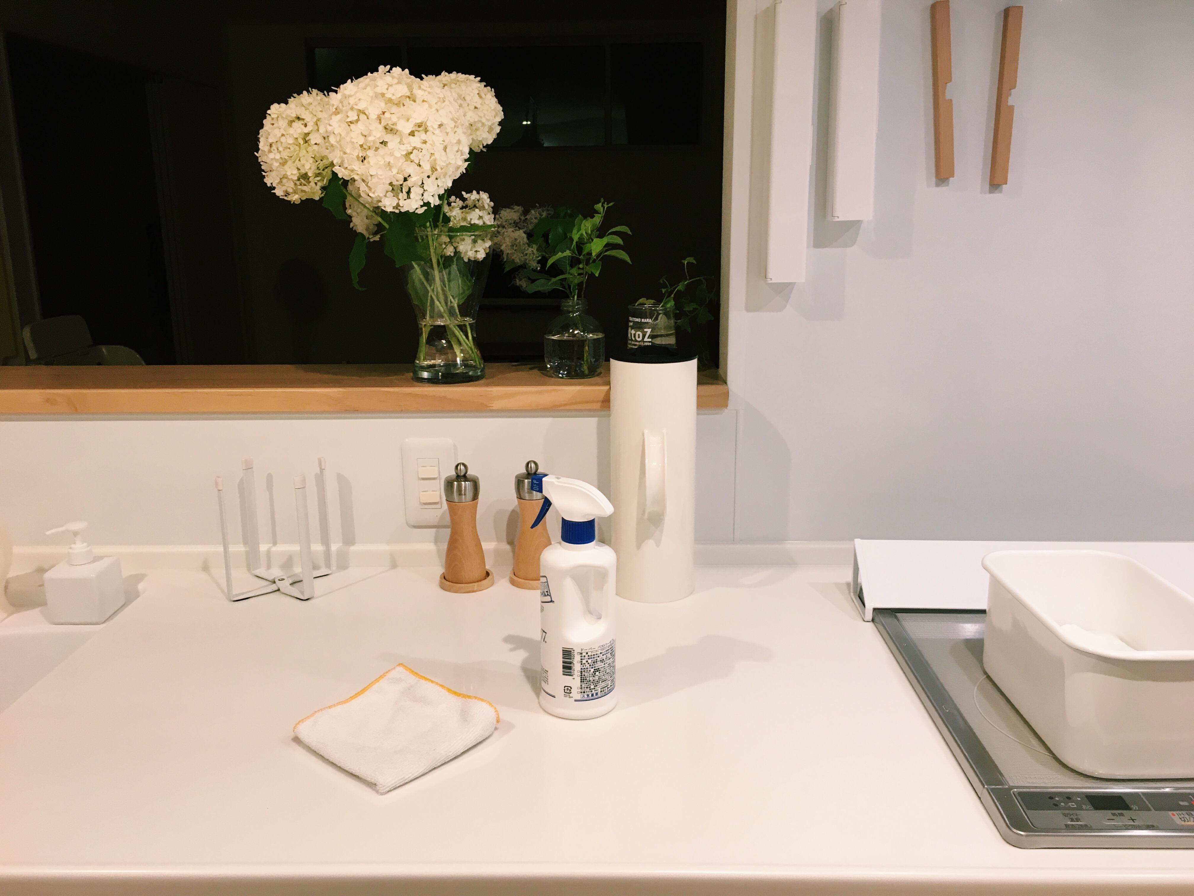 キッチンカウンターに、パストリーゼとマイクロファイバークロスが置かれています。